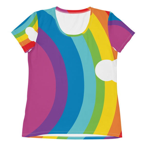 All-Over Print Women's Athletic T-shirt - Classic Rainbow