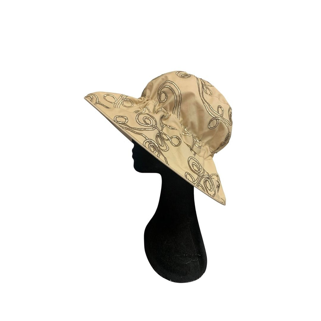 Summer Floppy Hat - Embroidered Gold / Beige
