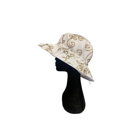 Summer Floppy Hat -  Embroidered Gold / White