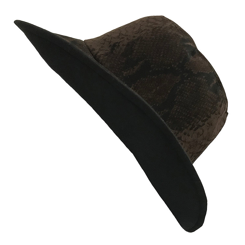 Fashion Bucket Hat || Brown Snake Faux Suede- Black