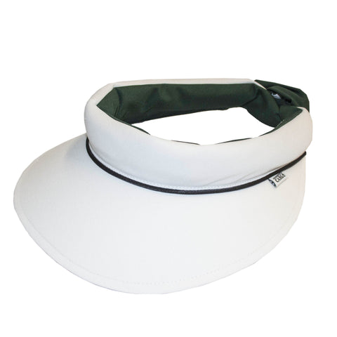 Visor || White & Bottle Green w Black Piping