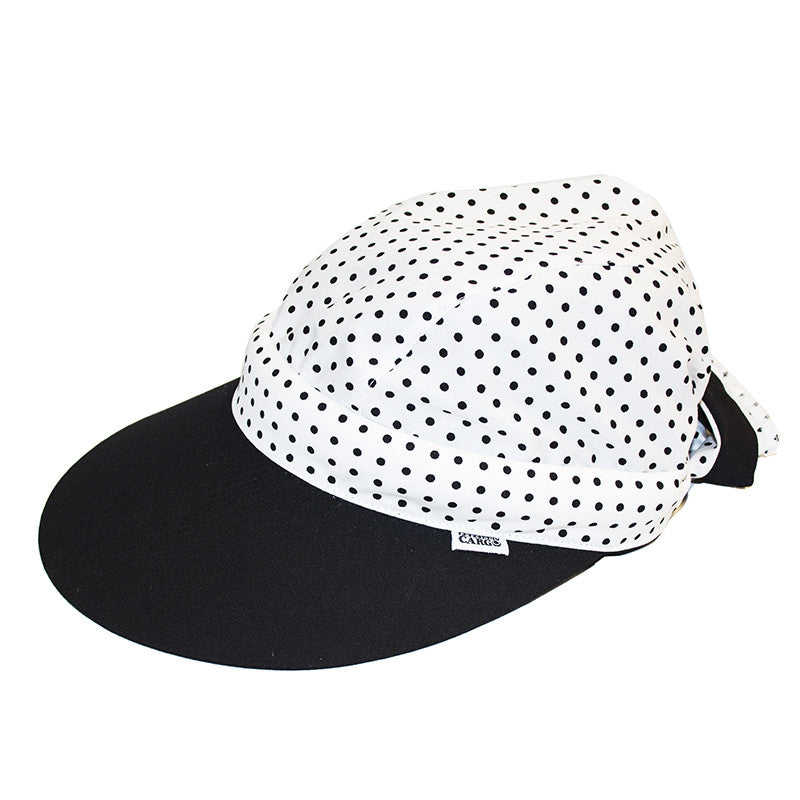 Twisty Cap || Black & White Polka Dots