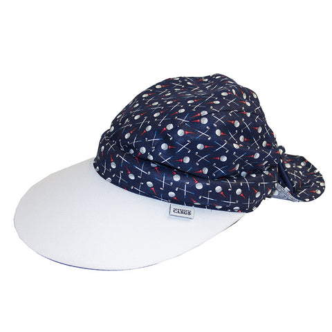 Twisty Cap || White & Golf Print