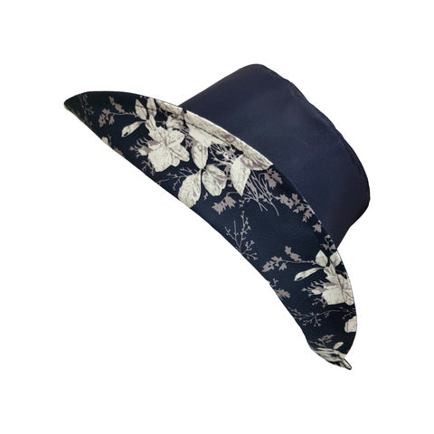 Wet Weather Bucket Hat  ||  Navy White Rose