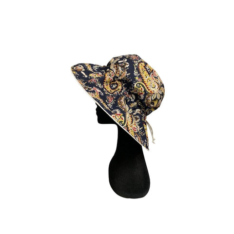 Summer Floppy Hat - Navy Paisley
