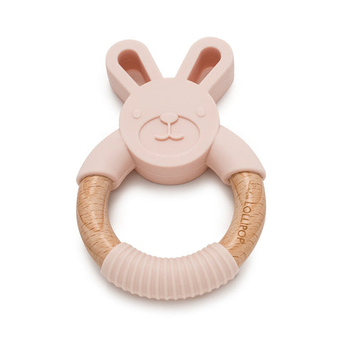 bunny teething silicone and wood teething ring in blush pink by loulou lollipop