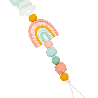 Baby silicone pacifier clip in pastel rainbow design.