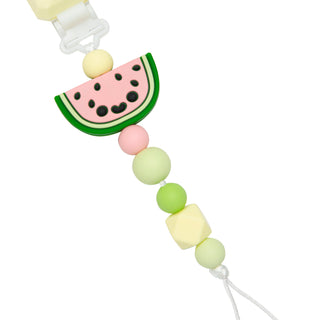 Baby silicone pacifier clip in cute watermelon design for babies.