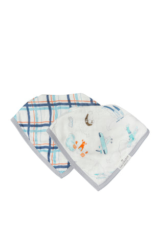 Baby bandana muslin drool bib sets in vintage airplane.