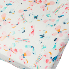 Muslin fitted crib sheet in butterfly.