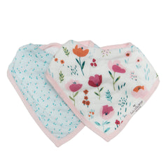 Rosey Bloom muslin bandana bib for babies.