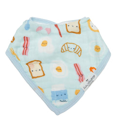 Cute breakfast eggs bacon croissant print bandana bib