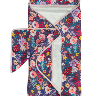 Dark floral muslin bamboo terry hooded towel baby soft.