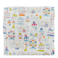 Summer carnival fun muslin swaddle by Loulou Lollipop.