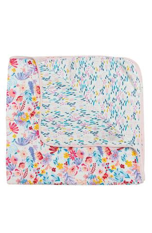 Bright field floral flower print muslin quilt loulou lollipop.