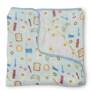 Cute Breakfast ham egg toast croissant print muslin baby quilt.