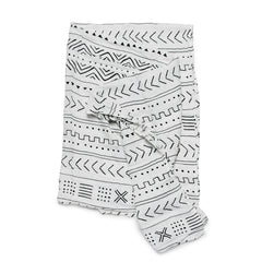 modern muslin swaddling blanket for baby in black white monochrome tribal mudcloth