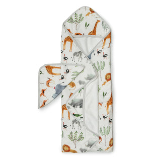 baby muslin hooded towel set in safari animals print for baby boy by loulou lollipop