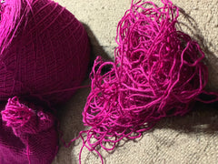 Pile of yarn ripped out of project