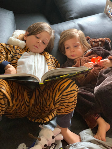 Two little boys lay on a sofa reading together.  one dressed as a tiger, one as a gorilla.