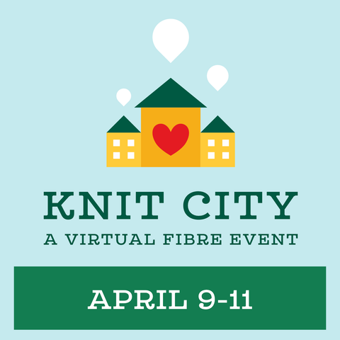 """Against a pale blue background are three yellow houses with green rooves.  The side houses have 4 white windows each, the centre house has a red heart.  The houses have little white inverted tear shaped bubbles coming from the peak of the roof.  Beneath the houses it reads """"Knit City: A virtual Fibre Event April 9-11"""""""