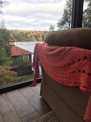 hitchhiker shawl with a view