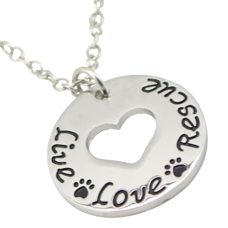 Live Love Rescue Necklace Cat Lover Paw Print Heart