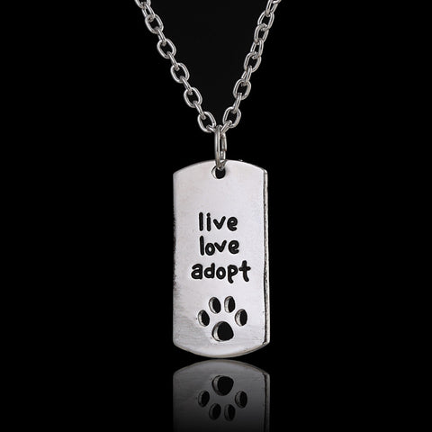 Cat Live Love Adopt Pet Rescue Paw Print Necklace