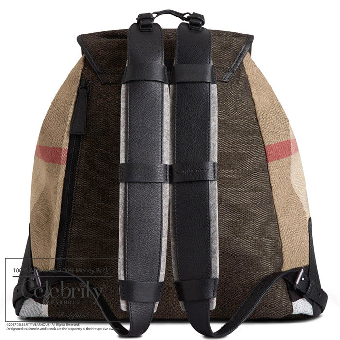 Burberry Canvas Check Backpack in Black