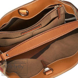 Burberry Medium Ashby in Canvas Check and Leather in Saddle Brown