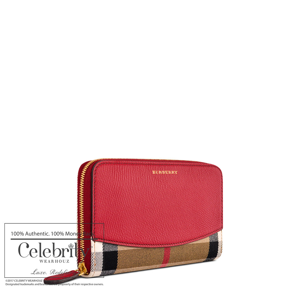 Burberry House Check and Sartorial Leather Wallet in Russet Red