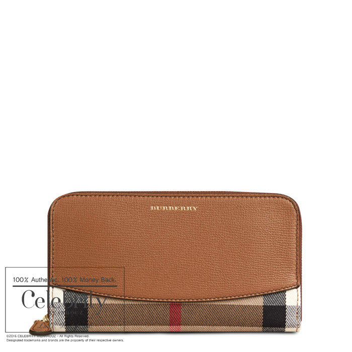 Burberry House Check and Sartorial Leather Wallet in Tan