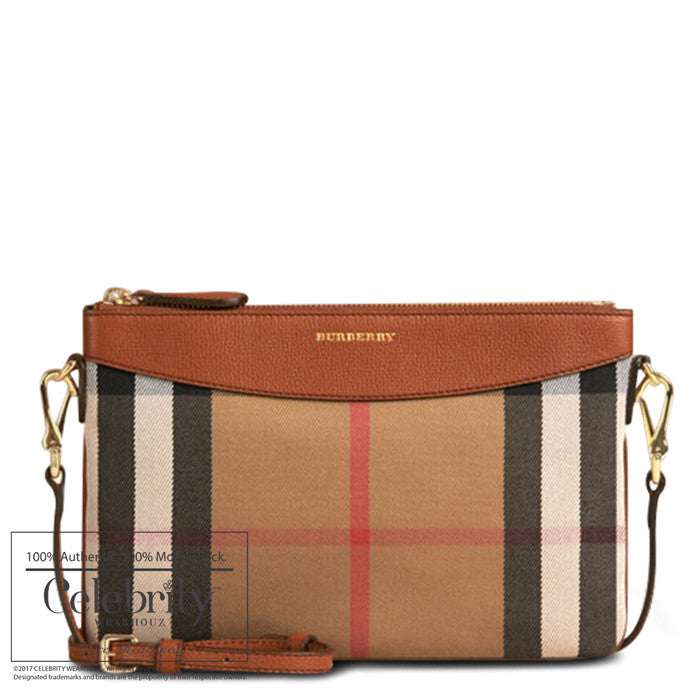 Burberry House Check Peytonwristlet in Tan