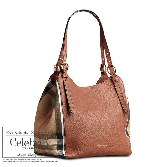 Burberry Small Canter in Leather and House Check Tan