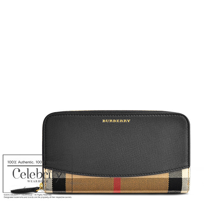 Burberry House Check and Sartorial Leather Wallet in Black