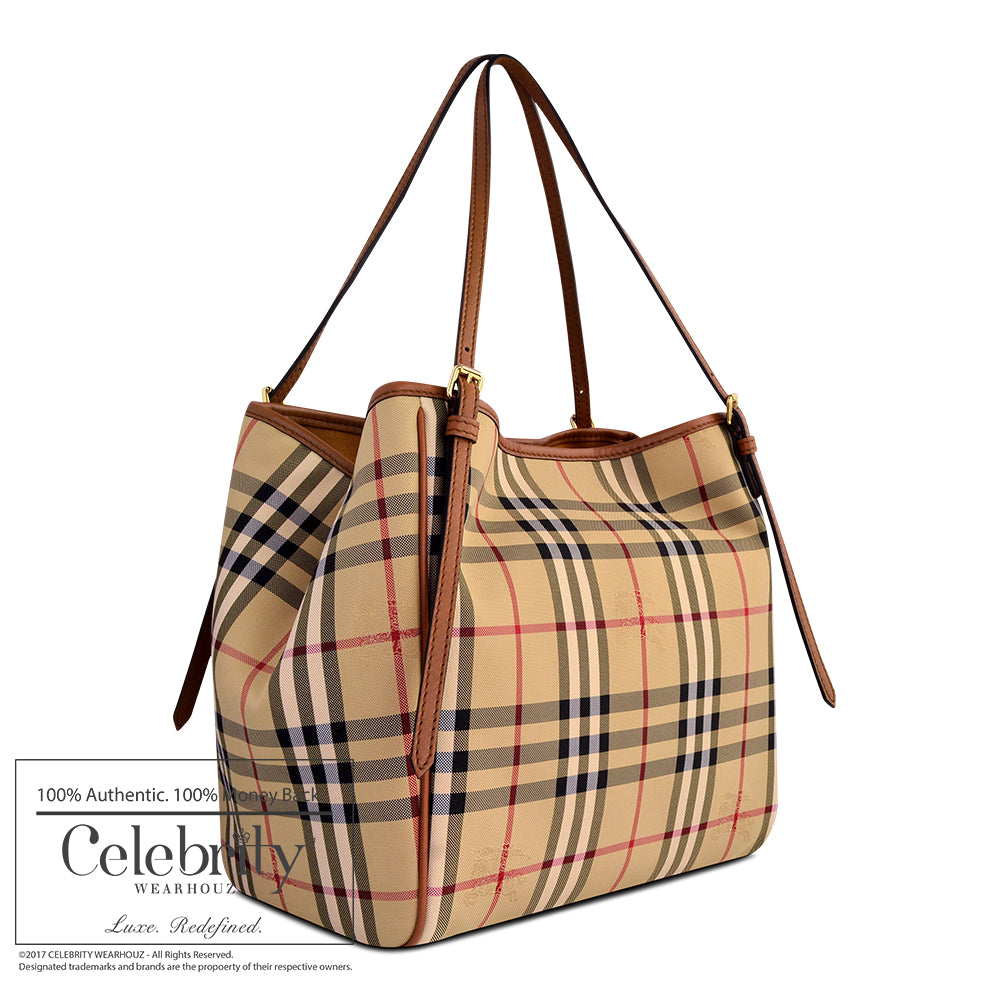 Burberry Small Canter in Horseferry Check in Honey/Tan
