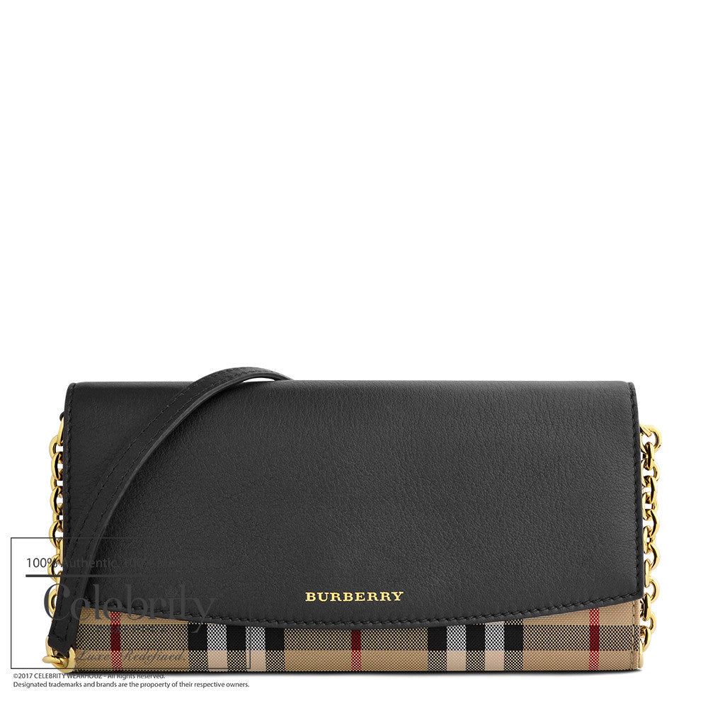 Burberry Horseferry Check and Leather Wallet on Chain in Black