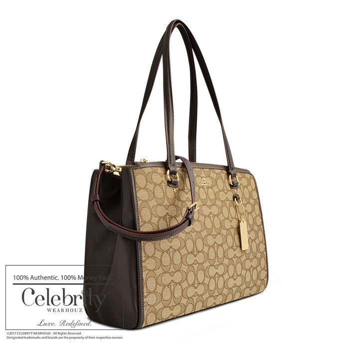 Coach Stanton Carryall in Signature Canvas Light Gold Hardware Khaki/brown