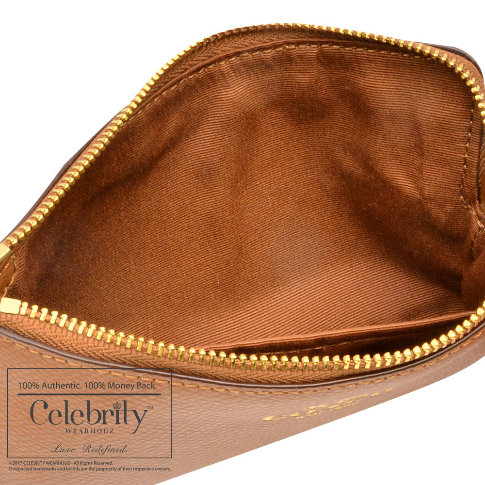 Coach Crossgrain LeatherZip Wrislet in in Light Saddle