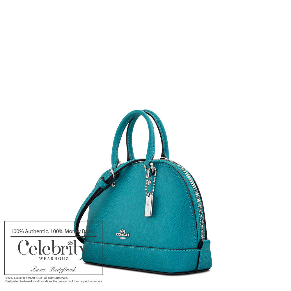 Coach Micro Mini Sierra Satchel in Crossgrain Leather in Silver/ Turqouise