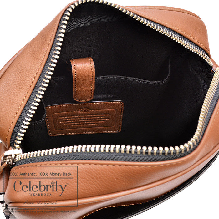 Coach Charles Flight Bag in Smooth Leather in Dark Saddle