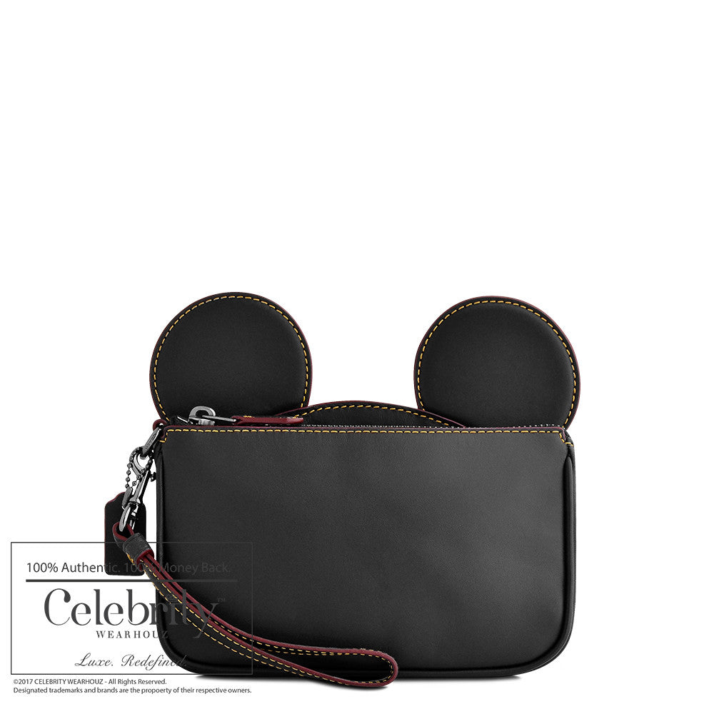 Coach Mickey Leather Ear Wristlet in Black