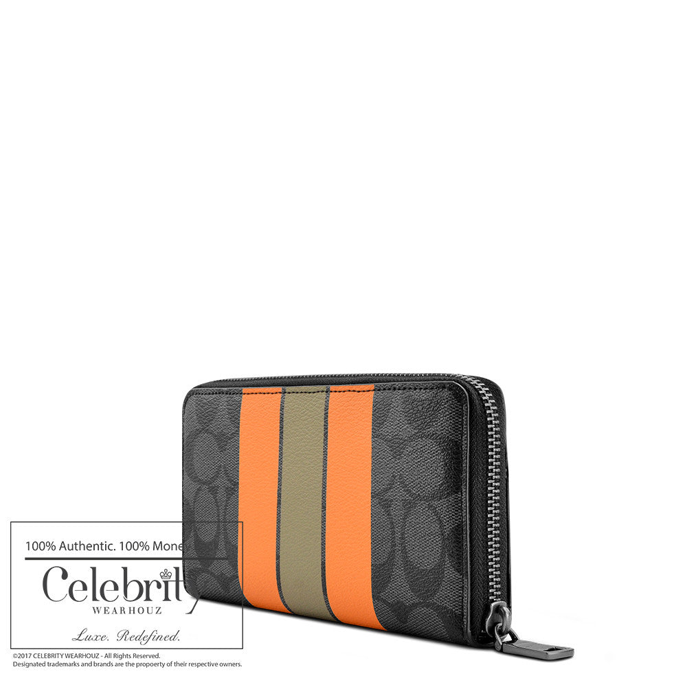 Coach Accordion Wallet in Varsity Signature in Charcoal Orange