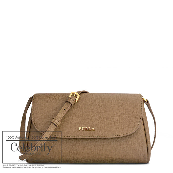 Furla Lilli Mini Saffiano Leather Crossbody in Daino
