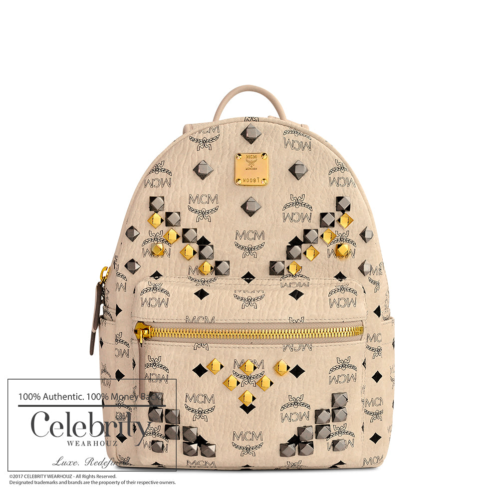 MCM Small Stark Backpack in Visetos Coated Canvas Beige