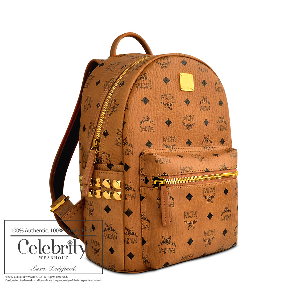 MCM Side Stud Stark Small Backpack Cognac