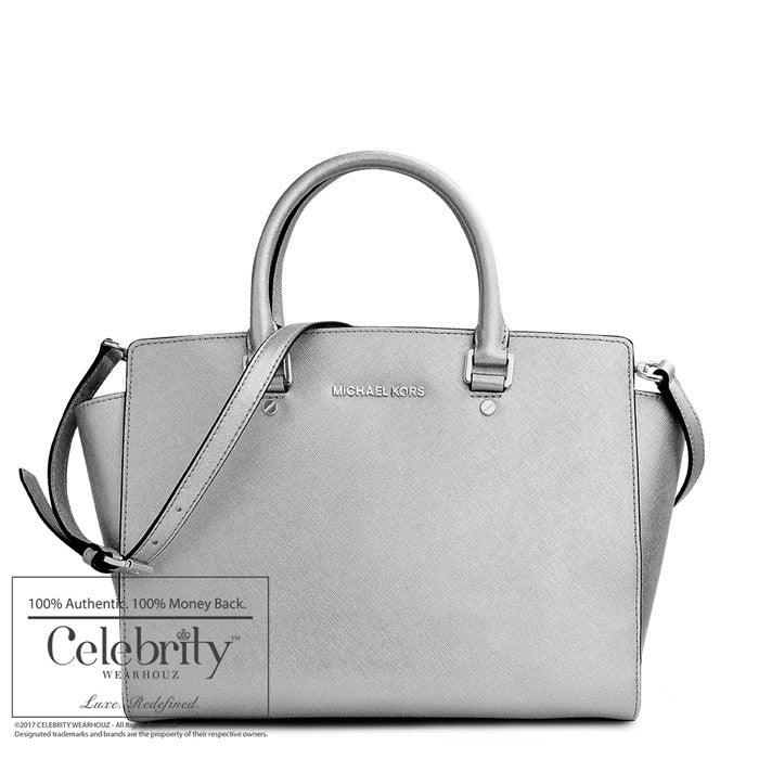 Michael Kors Medium Selma Top-Zip Satchel in Silver