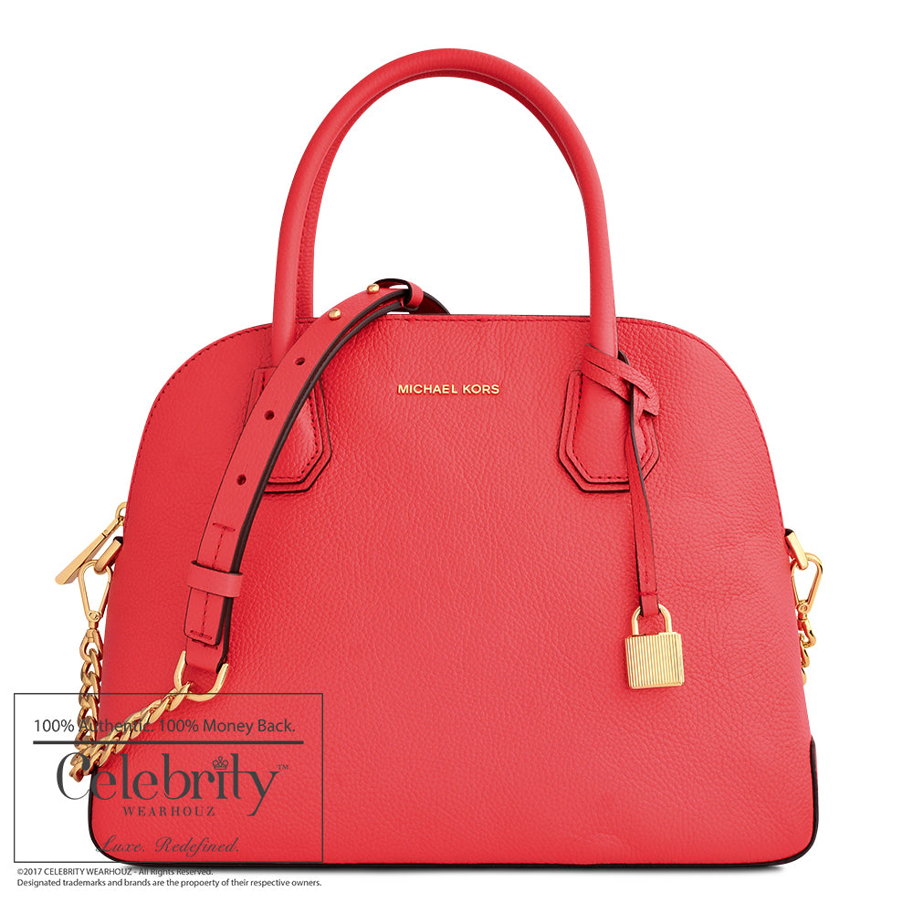 Michael Kors Mercer Large Leather Dome Satchel in Sangria