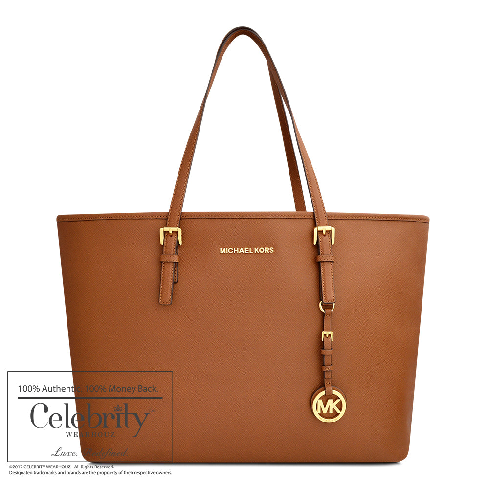 Michael Kors Jet Set Travel Medium Saffiano Leather Top-Zip Tote in Luggage