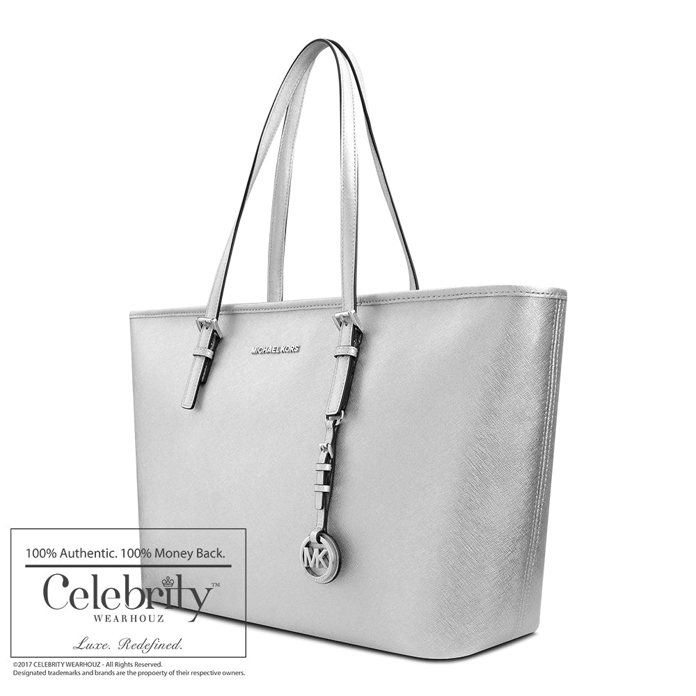 Michael Kors Jet Set Travel Saffiano Leather Top-Zip Tote in Silver